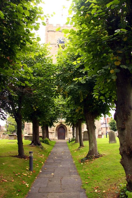 Tree lined path to St Michael and All Angels Church