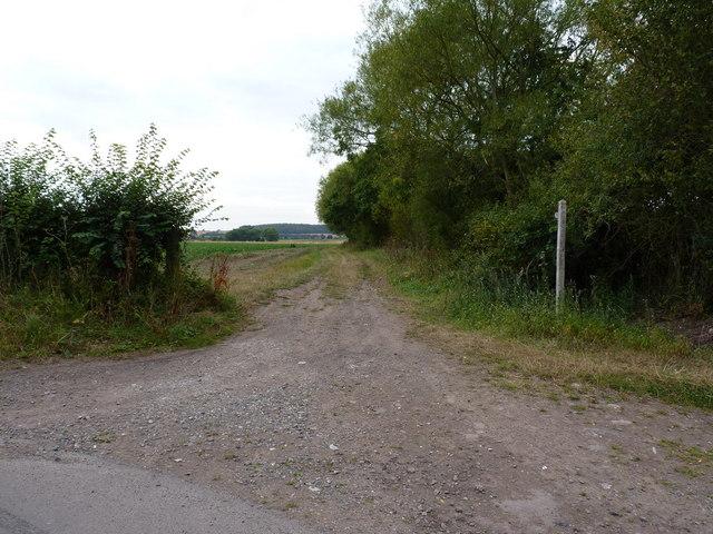 The bridleway leaving Bennetts Lane