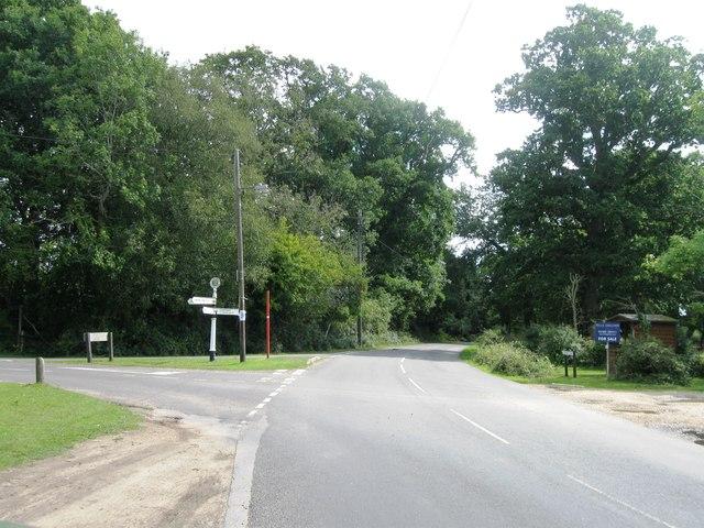 Road junction east of Minstead