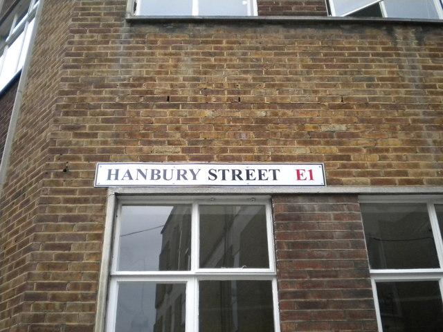 Street sign, Hanbury Street E1