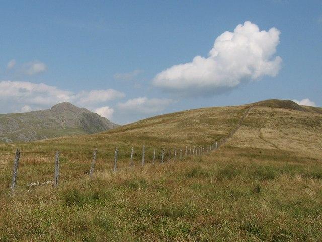 Fence line on Mynydd Pencoed