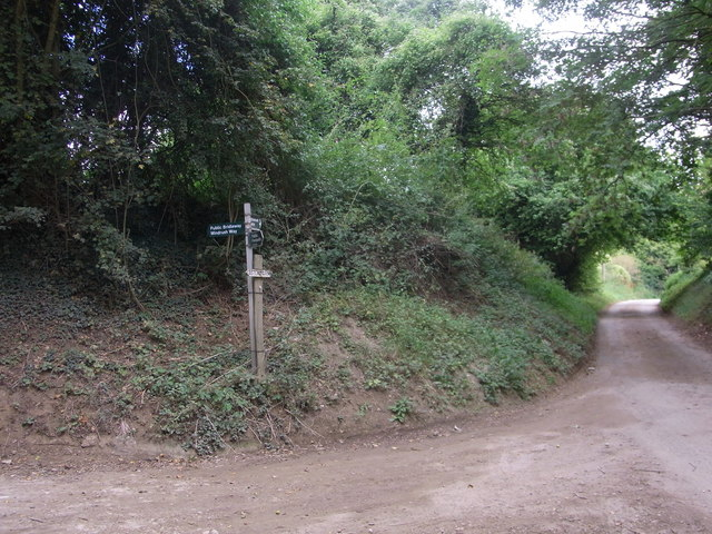 Path junction sign near Lower Aston Mill and Aston Farm