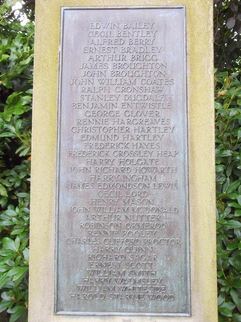 Fence War Memorial,  Fence, Lancashire (Plaque Detail)