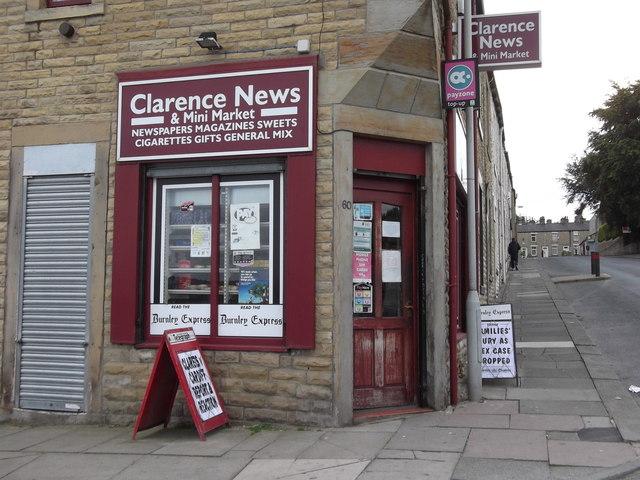 """Clarence News"" 60, Clarence Street, Burnley, Lancashire BB11 3HG"