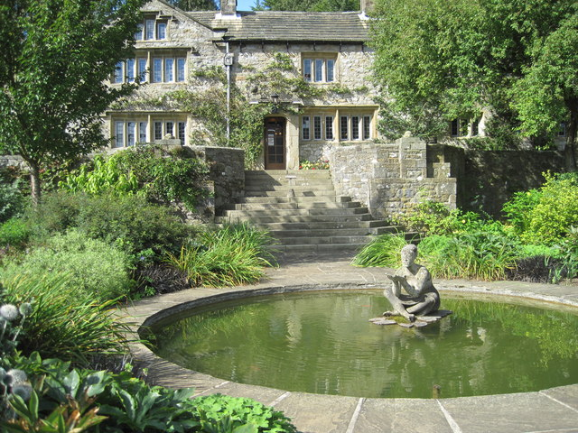 Parcevall Hall  with statue