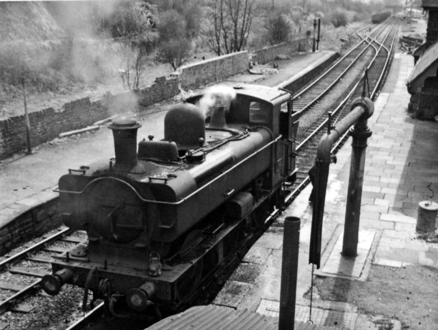 Closed Station at Pengam (Mon.), with a Standard GW Pannier 0-6-0T