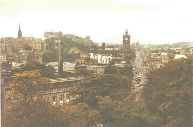 Princes Street from Calton Hill, Edinburgh in 1984