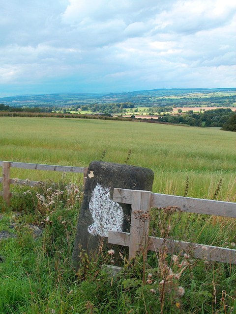 Gatepost on Eccup Lane - with the Wharfe Valley in the distance