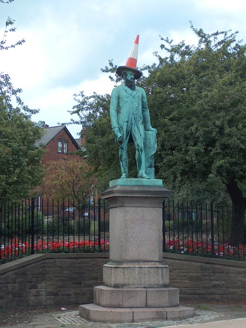 Statue of Sir Peter Fairbairn with conical bonnet, Woodhouse Square, Leeds