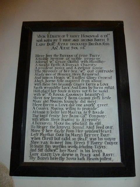 Saint Mary's, Upton Grey: memorial (11)
