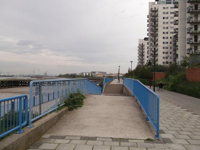 Steps on esplanade beside Iron Pier