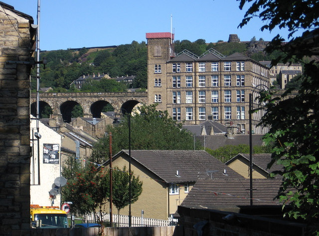 Milnsbridge - viaduct and mills