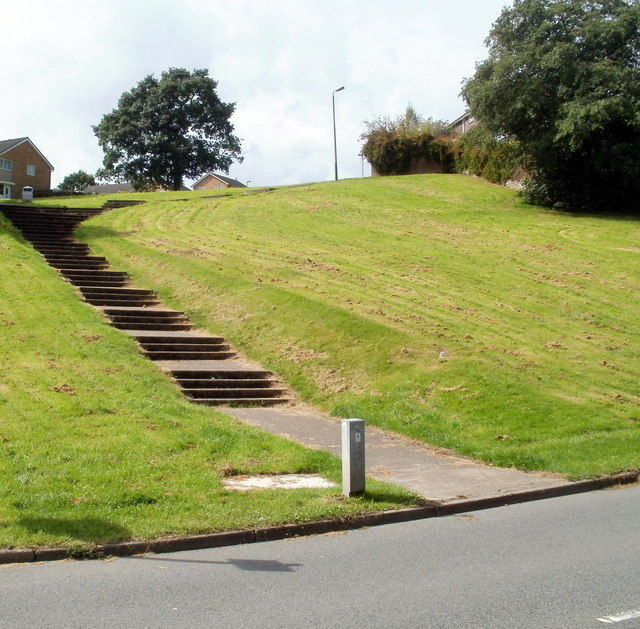 Steps up to Hendredenny houses, Caerphilly