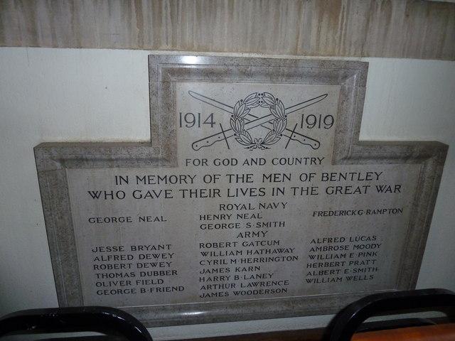St. Mary, Bentley: 1914-19 war memorial