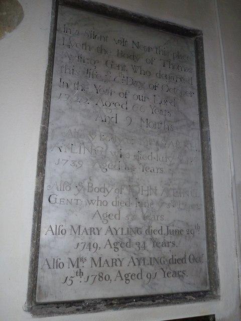 St. Mary, Bentley: memorial (iii)