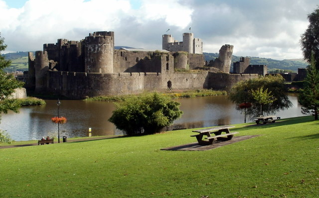 Caerphilly Castle viewed from David Williams Park