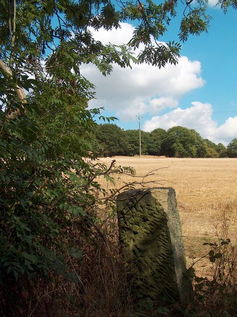 Old gatepost and wheatfield on Whitley Lane, Ecclesfield