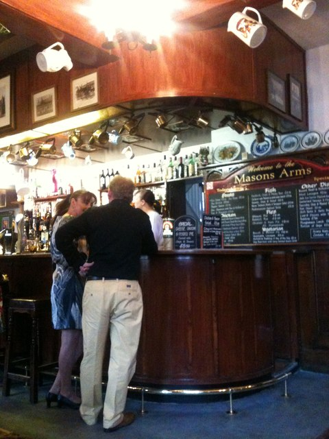 Inside the Mason's Arms - details of bar.  York