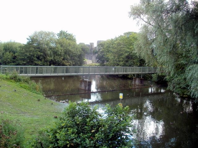 Footbridge, Caerphilly Castle moat
