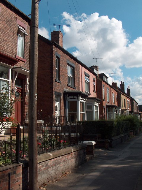 Houses on Barnsley Road east of the Northern General Hospital