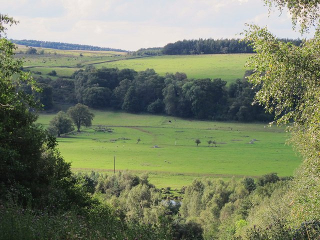 The valley of the River South Tyne around Wydon Eals