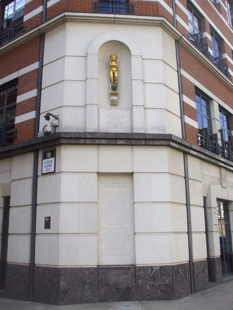 The Golden Boy - corner of Giltspur St and Cock Lane, London