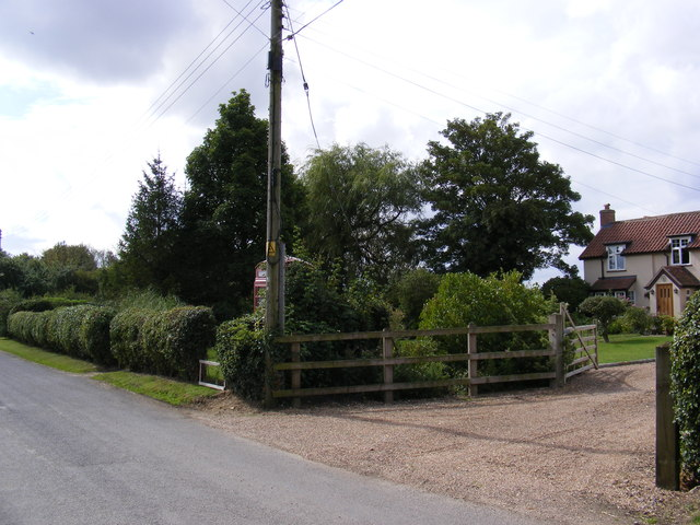 Monk Soham Telephone Box & Entrance to Old Post Office Cottage