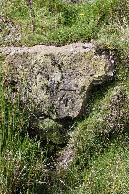 Benchmark on roadside rock at White Shaw