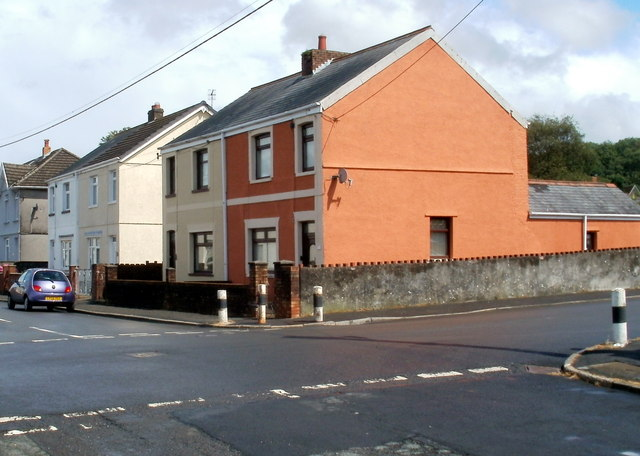 Colourful house at crossroads, Cwmgwrach
