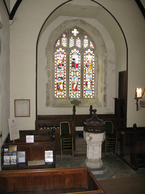 The font and west window, St Clement, Knowlton