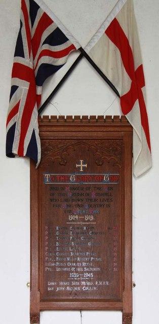 St Mary, Rushall - War memorial