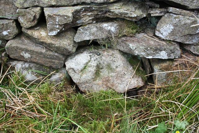 Benchmark on stone in wall near Swere Gill Bridge