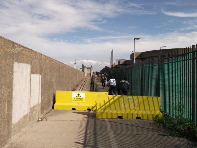 Barriers on the Thames Path at Crossness Sewage Works