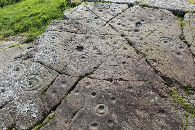 Detail of cup & ring marked rock, Baluachraig