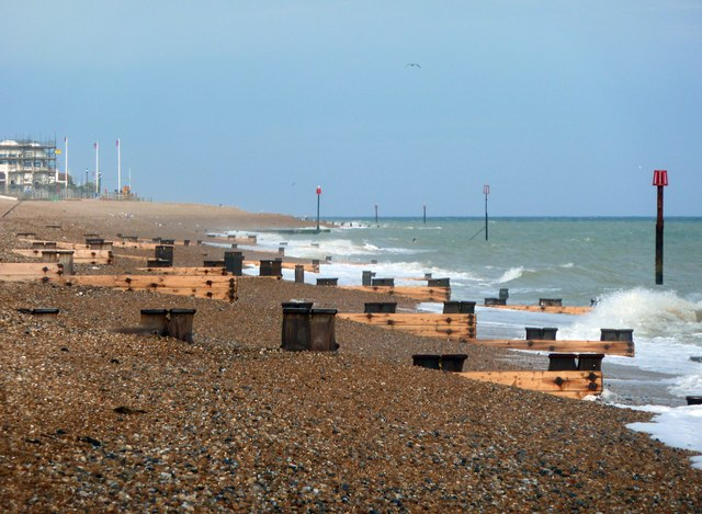 New groynes on West Beach, Bexhill