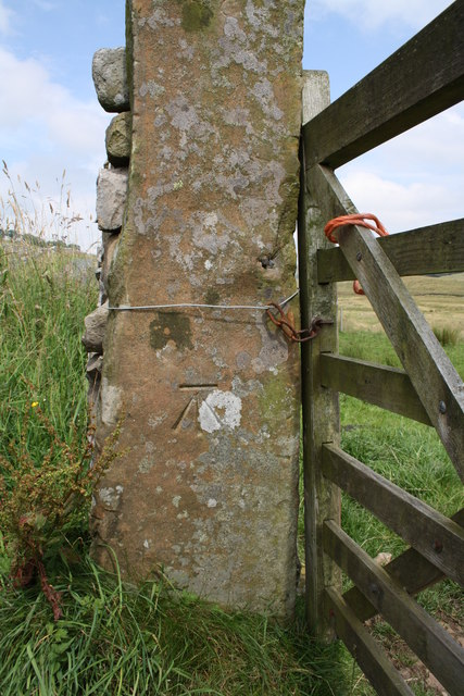 Benchmark on gatepost opposite Yordas Cave, Kingsdale