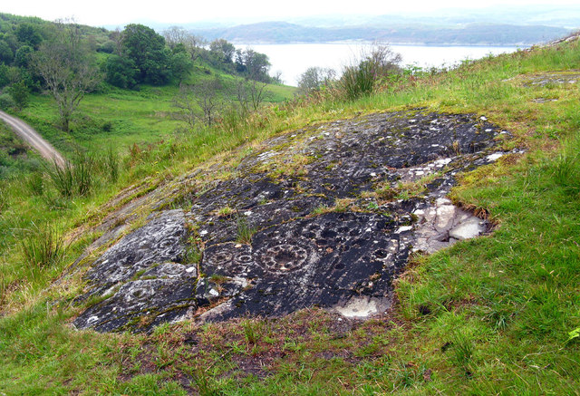 Cup-and-Ring marked rock surface at Ormaig