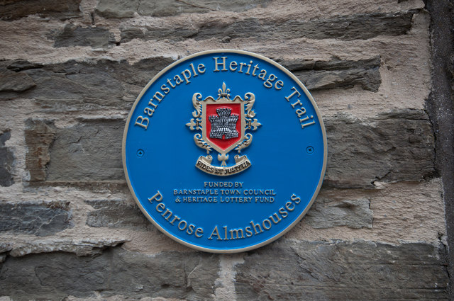 A plaque on the wall of the Penrose Almshouses, Litchdon Street, Barnstaple
