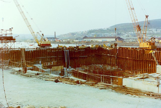 Construction of Tawe Barrage