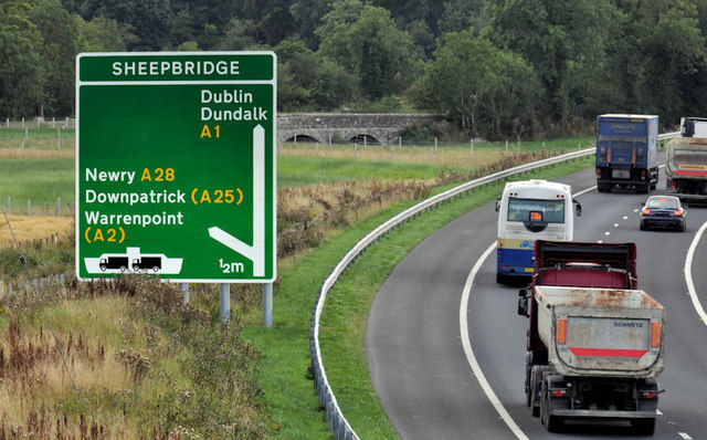 Advance direction sign near Newry