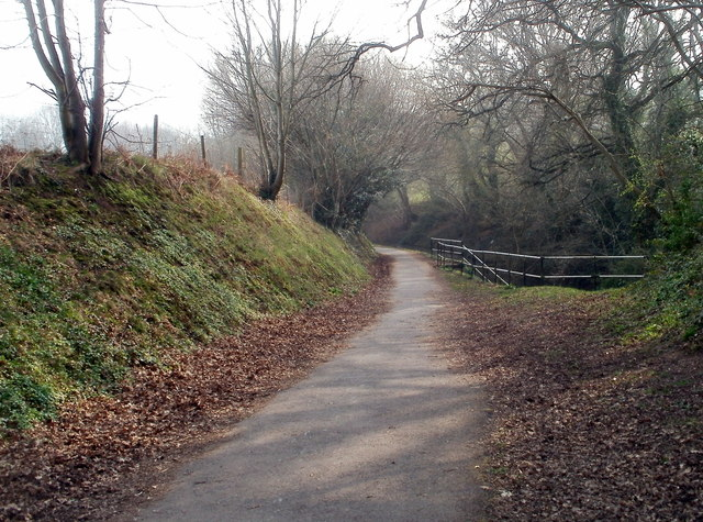 Footpath and cycleway approaches canal tunnel portal near Cwmbran