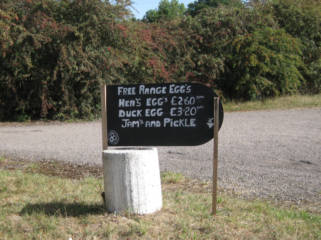 Sign at the entrance to a smallholding