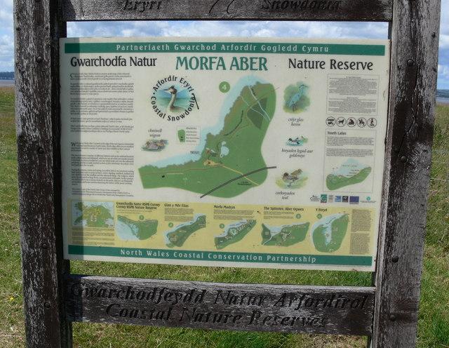 Information board at Morfa Aber Nature Reserve