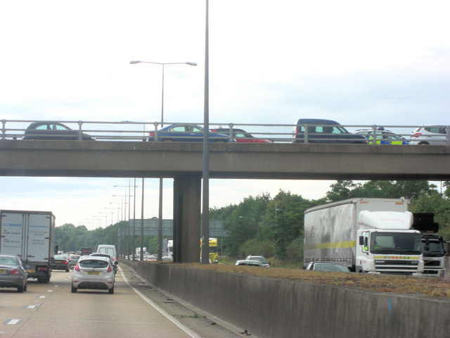 M25 and overbridge at Junction 11