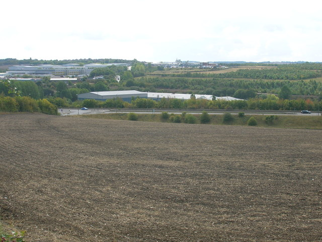 Farmland towards the A57