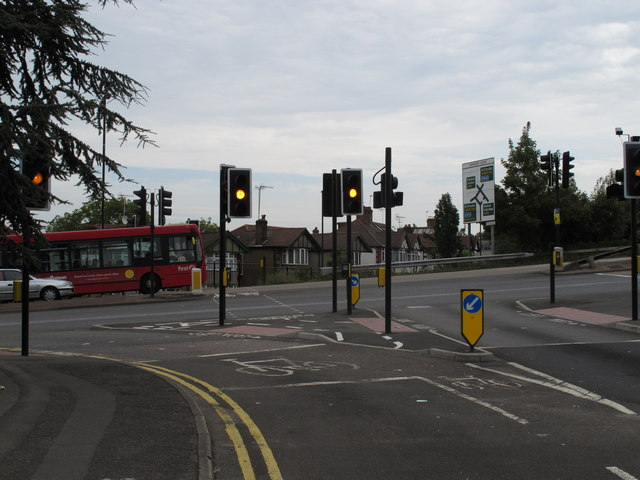 Traffic lights amber at cycle crossing on Hanger Lane