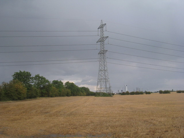 Pylon and harvested field