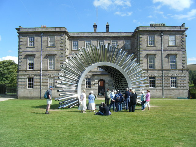 West lawn and Aeolus wind sculpture, Lyme Hall