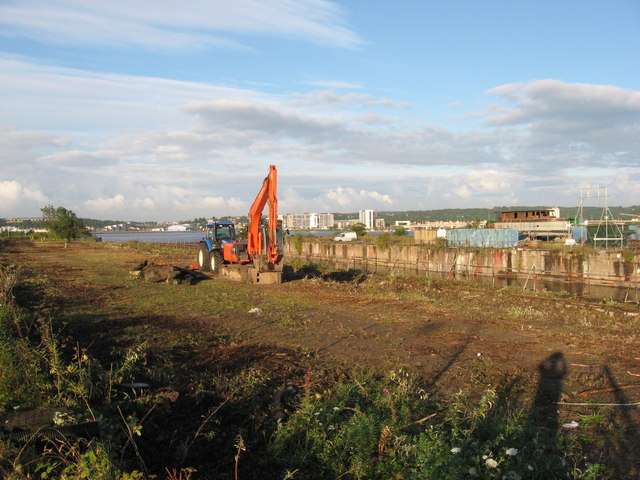 Clearance work beside former Channel Dry Dock, Cardiff