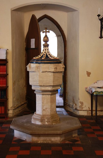 All Saints, Welborne - Font